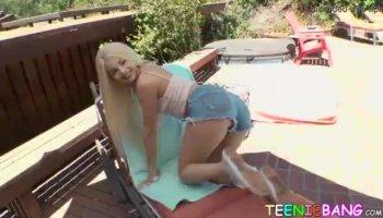 Busty blonde mature milf Bridgette B horny threesome on sofa